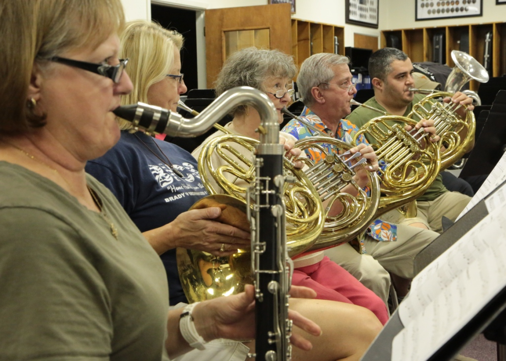 San Saba River City Band Members Rehearsing