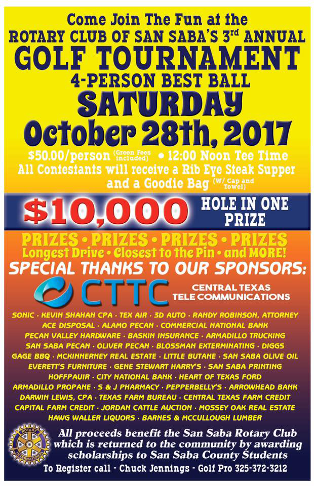 4 BEST BALL TOURNAMENT SPONSORED BY ROTARY CLUB @ San Saba River Golf Course | San Saba | Texas | United States