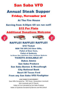 SSVFD Steak Supper @ San Saba Volunteer Fire Department | San Saba | Texas | United States
