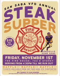 SSVFD Steak Supper @ SSVFD Fire House | San Saba | Texas | United States