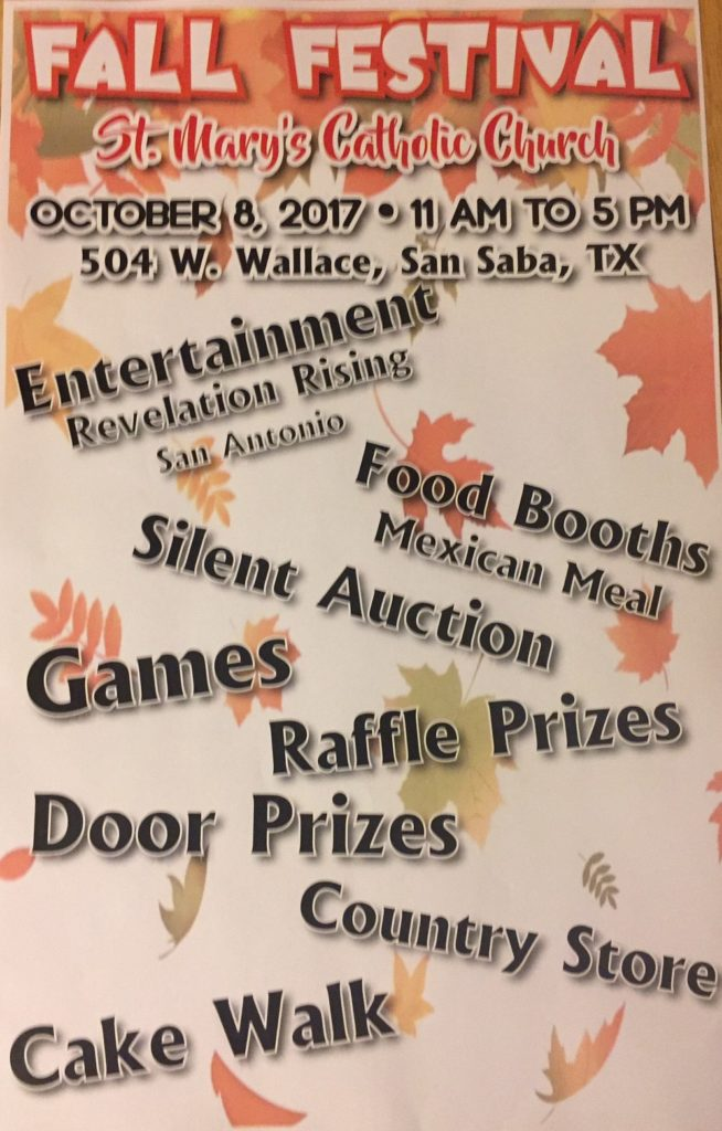 FALL FESTIVAL SPONSORED BY ST. MARY'S CATHOLIC CHURCH @ St. Mary's Catholic Church | San Saba | Texas | United States