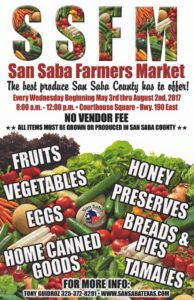 San Saba County Farmer's Market @ San Saba County Courthouse Square | San Saba | Texas | United States