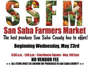 Farmer's Market - San Saba County @ San Saba County Courthouse Square | San Saba | Texas | United States
