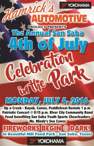 Fourth of July Celebration in the Park @ Mill Pond Park | San Saba | Texas | United States