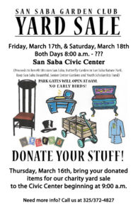 San Saba Garden Club Charity Yard Sale @ San Saba Civic Center | San Saba | Texas | United States