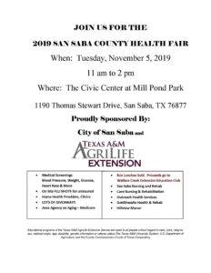 San Saba County Health Fair @ San Saba Civic Center Mill Pond Park | San Saba | Texas | United States