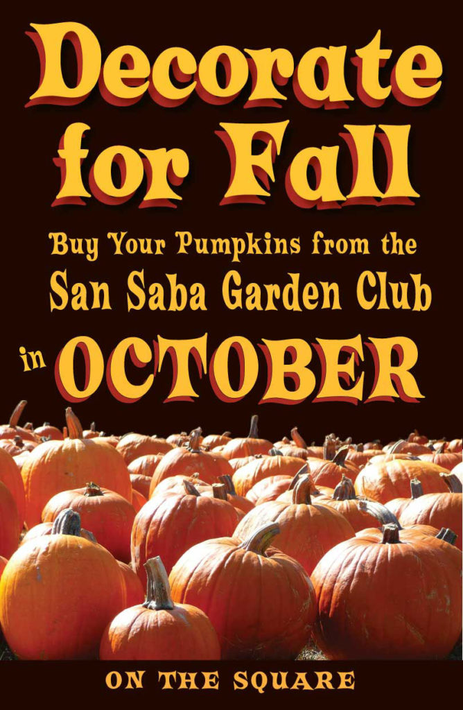 Pumpkin Sale Sponsored by Garden Club @ San Saba County Courthouse | San Saba | Texas | United States