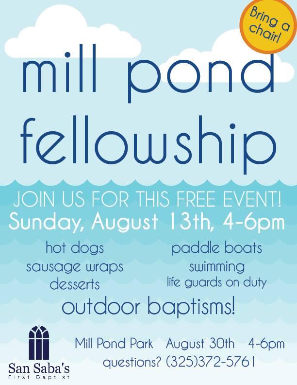 Mill Pond Fellowship - First Baptist Church @ Mill Pond Park | San Saba | Texas | United States
