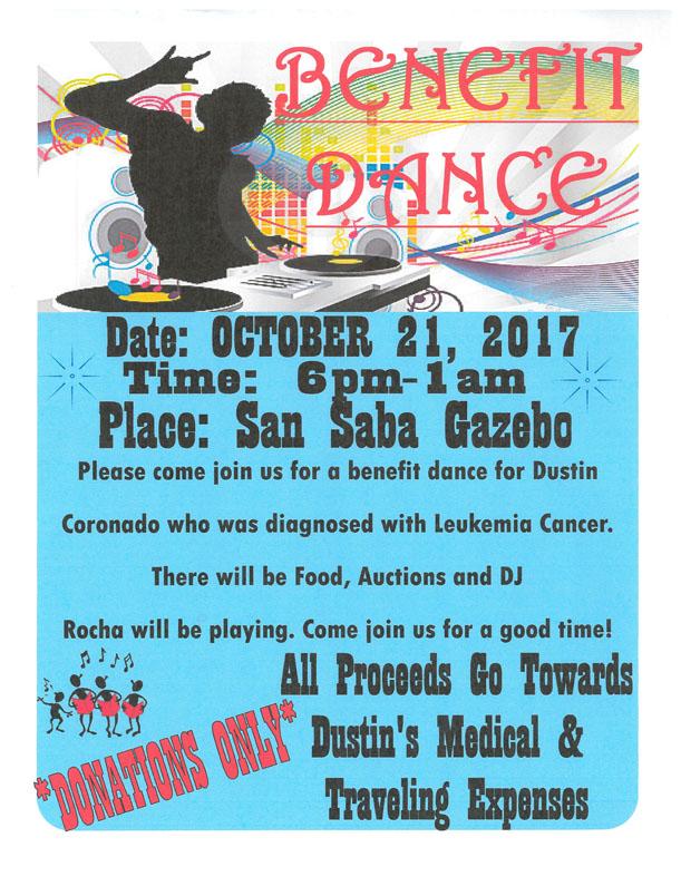 DUSTIN CORONADO BENEFIT DANCE @ San Saba Gazebo | San Saba | Texas | United States