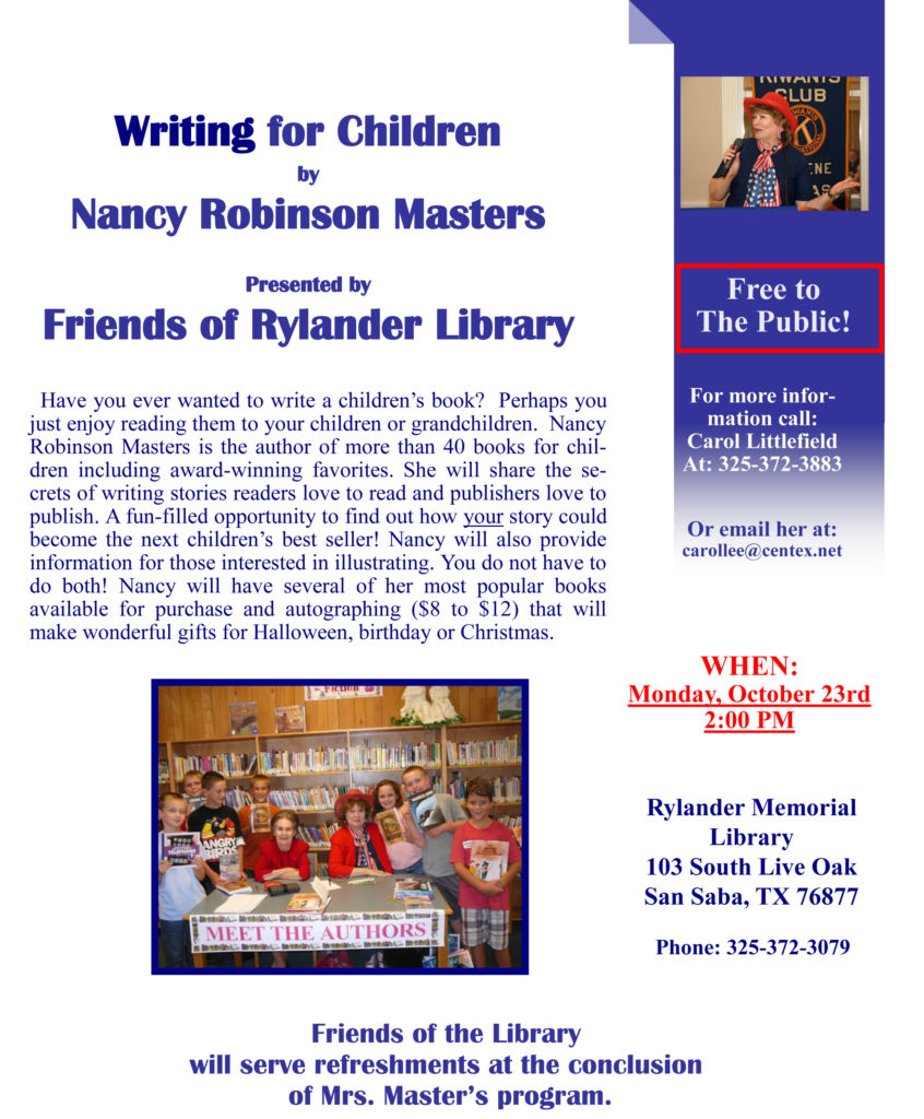 Writing for Children by Nancy Robinson Masters @ Rylander Memorial Library | San Saba | Texas | United States