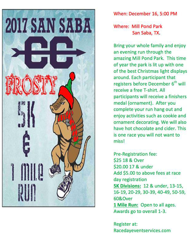 Frosty 5K and 1 Mile Run @ Mill Pond Park | San Saba | Texas | United States