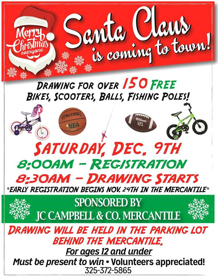 Santa Claus is Coming to Town @ JC Campbell & Co Mercantile | San Saba | Texas | United States