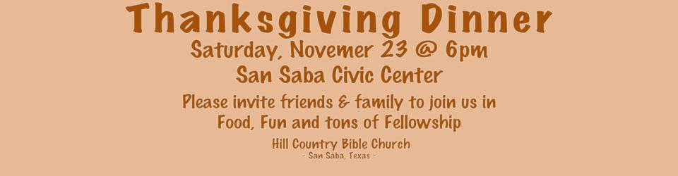 Hill Country Bible Church Thanksgiving @ San Saba Civic Center